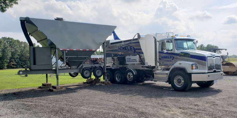 holcombe mixers 200 barrel low-profile portable silo with Hinkle truck