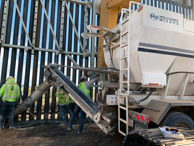 Holcombe Mixers at the Border Wall Project, Yuma, AZ