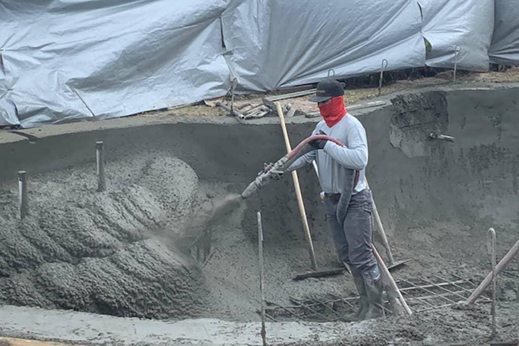 Impact Shotcrete Pool Construction Using Volumetric Concrete Mixer Truck